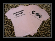 LADIES-CHOPPERSHOP CHOPPERS T-SHIRT (pink w/black lettering)